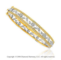 14k Two Tone Gold Filigree .75 Carat Diamond Bangle Bracelet