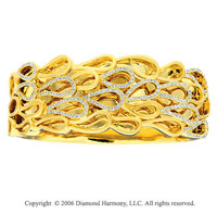14k Yellow Gold Loops 1.70  Carat Diamond Bangle Bracelet