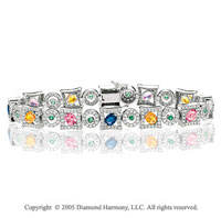 7.90 CWT 14k Diamond Rainbow Gemstones Glam Bracelet