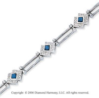 14k Princess Blue Sapphire .20 Carat Diamond Tennis Bracelet