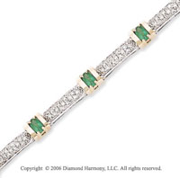 14k Two Tone Gold Oval Emerald 1.10 Carat Diamond Tennis Bracelet
