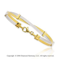 14k Two Tone Gold Crossover Angel Hair Bracelet
