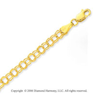 14k Yellow Gold Classic Double Ring 5mm Charm Bracelet