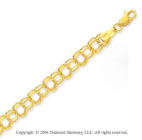 14k Yellow Gold Classic Double Ring 7mm Charm Bracelet