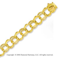 14k Yellow Gold Classic Double Ring 10mm Charm Bracelet