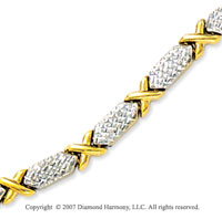 14k Two Tone Gold Pave Cut Hexagons 5mm XO Bracelet