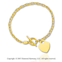 14k Yellow Gold Heart 3mm Toggle Clasp Charm Bracelet