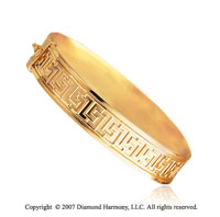 14k Yellow Gold Fancy Greek Carved Fashionable Bangle