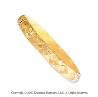 14k Yellow Gold Elegant Thick Diamond Carved Bangle