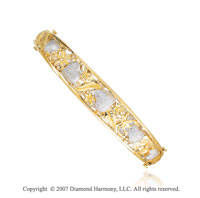 14k Gold Two Color Filigree Hearts Diamond Cut Bangle