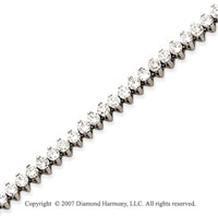 14k White Gold 2 Prong 6.00 Carat Diamond Tennis Bracelet