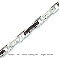 14k White Gold Princess 6 1/3 Carat Black Diamond Bracelet