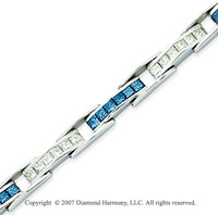 14k White Gold Princess 6 1/3 Carat Blue Diamond Bracelet