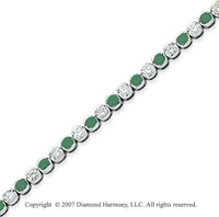 14k White Gold Fine 3 1/2 Carat Green Diamond Bracelet