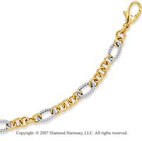 14k Two Tone Gold 7.25 Inch Stylish Oval Ring Bracelet