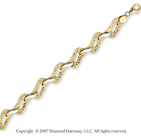 14k Two Tone Gold 7.50 Inch Unique Stylish Bracelet