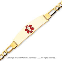 14k Yellow Gold Modern Enamel Medical ID Bracelet