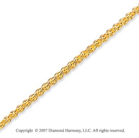 14k Yellow Gold Stylish Wide 1.80mm Round Wheat Chain