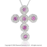 14k White Gold Pink Sapphire .60 Carat Diamond Cross Pendant
