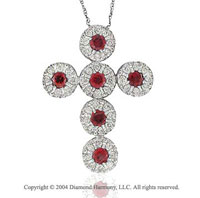 14k White Gold Lobster Lock Ruby .60 Carat Diamond Cross Pendant