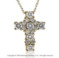 14k Yellow Goldold Spring Lock 1.00 Carat Diamond Cross Pendant
