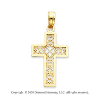 14k Yellow Gold Carved Square Filigree Cross Pendant