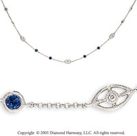 14k White Gold Blue Sapphire Diamond By The Yard Necklace