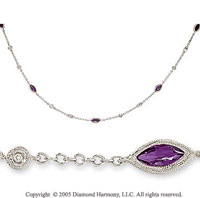 14k White Gold Amethyst Diamond By The Yard Necklace