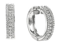 0.85 Carat 14k White Gold Diamond Huggie Earrings