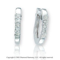 14k White Gold 5/8 In .25  Carat Diamond Huggie Earrings