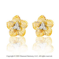 Diamond 14k Yellow Gold Flower Stud Earrings