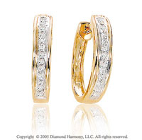 1/4 Carat Diamond 14k Yellow Gold Huggie Earrings