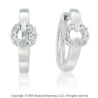 14k White Gold 1/4 Carat Diamond Circle Link Huggie Earrings