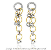 14k Two Tone Gold 0.40 Carat Diamond Circle Drop Earrings