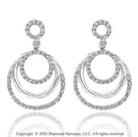 14k White Gold 1/2 Carat Diamond Triple Circle of Life Earrings