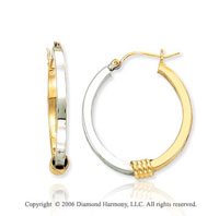 14k Two Tone Gold 1 1/8 in, 3mm Hoop Earrings