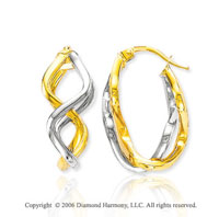 14k Two Tone Gold 7/8in, 12mm Winding Hoop Earrings