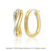 14k Two Tone Gold 1 3/8in, 7mm Wrapped Hoop Earrings