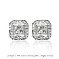14k White Gold Round Princess Stud 1/2 Carat Diamond Earrings