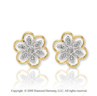 14k Two Tone Gold Flower Diamond Earrings