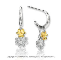 14k Two Tone Gold Attra Carative Diamond Drop Earrings
