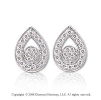 14k White Gold 1/5 Carat Diamond Tear Drop Earrings