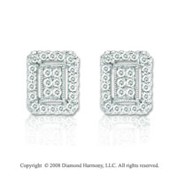 14k White Gold 1/3 Carat Diamond Deco Style Button Earrings