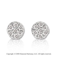 14k White Gold 1/10 Carat Diamond Cluster Button Earrings