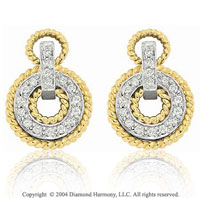 14k Two Tone Gold Round 1/5  Carat Diamond Earring Charms