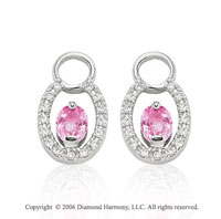 14k White Gold Oval Pink Sapphire Diamond Earring Charms