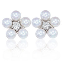 14k White Gold Pearl Cluster Prong Diamond Button Earrings