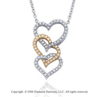14k Two Tone Gold 1/2  Carat Diamond Triple Heart Necklace