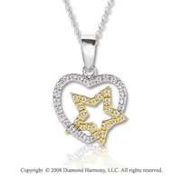 14k Two Tone Gold 1/8 Carat Diamond Heart and Star Necklace