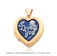 14k Yellow Gold I Love You Flower Cameo Heart Locket